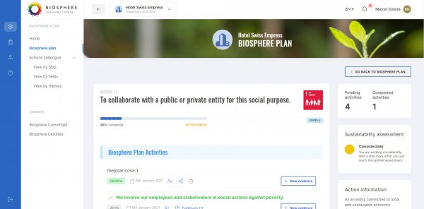 Manage the actions of your Biosphere Plan