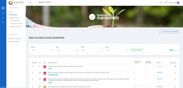 Gérer les actions de votre Plan Biosphere
